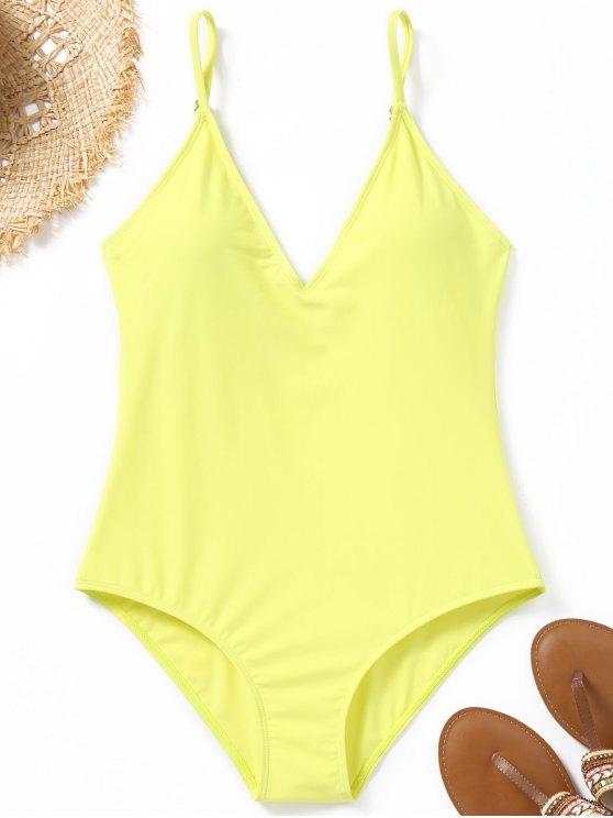 كامي تغرق الرقبة قطعة واحدة ملابس السباحة - ليمون أصفر L