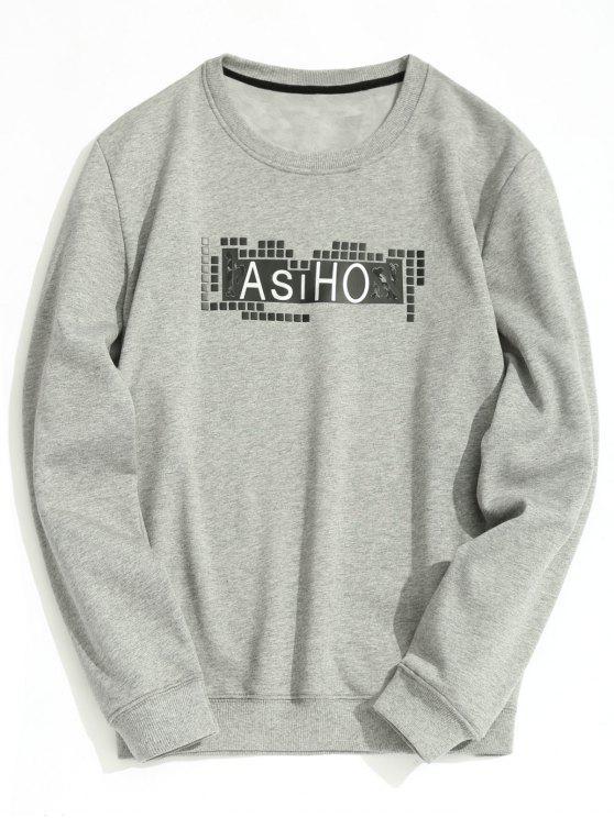 affordable Crew Neck Fleece Lining Graphic Sweatshirt - GRAY XL