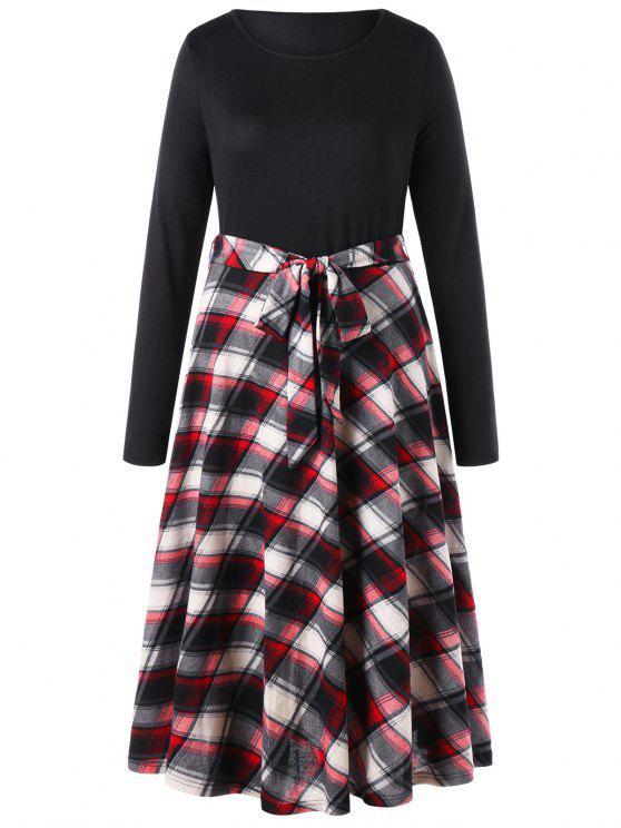 فستان الحجم الكبير طويلة الأكمام - أسود 4XL