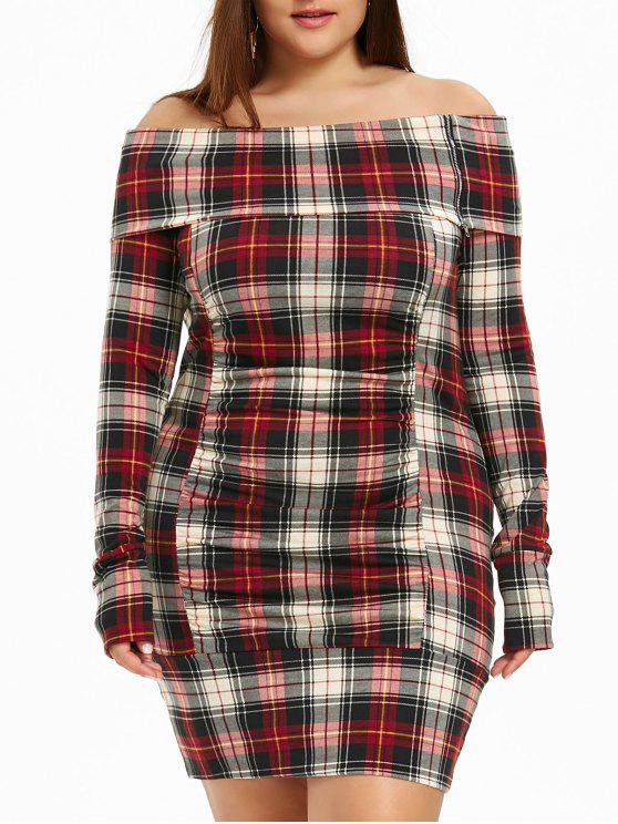 2019 Plus Size Off The Shoulder Plaid Dress In RED 5XL | ZAFUL