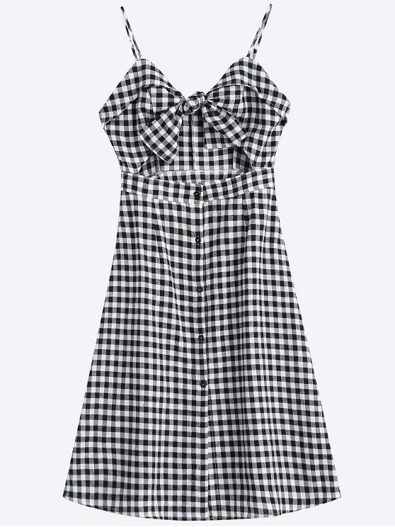 shop Bow Tied Cut Out Checked Midi Dress - CHECKED S