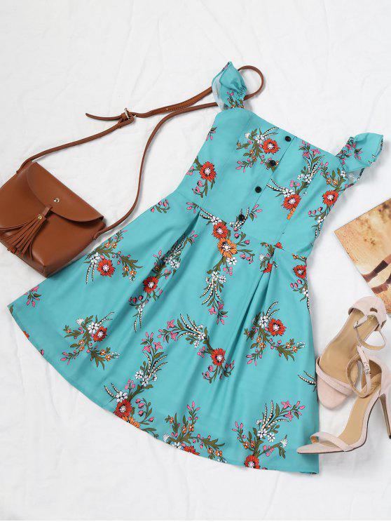 Robe Courte Florale à Demi Boutonnée à épaules Dénudées - Bleu Vert S