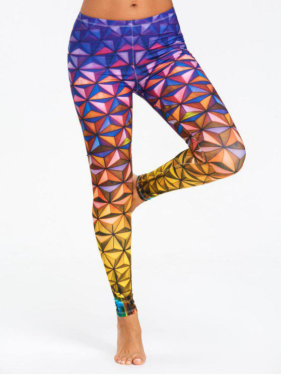 ladies Geometric 3D Print Ombre Leggings - COLORMIX S