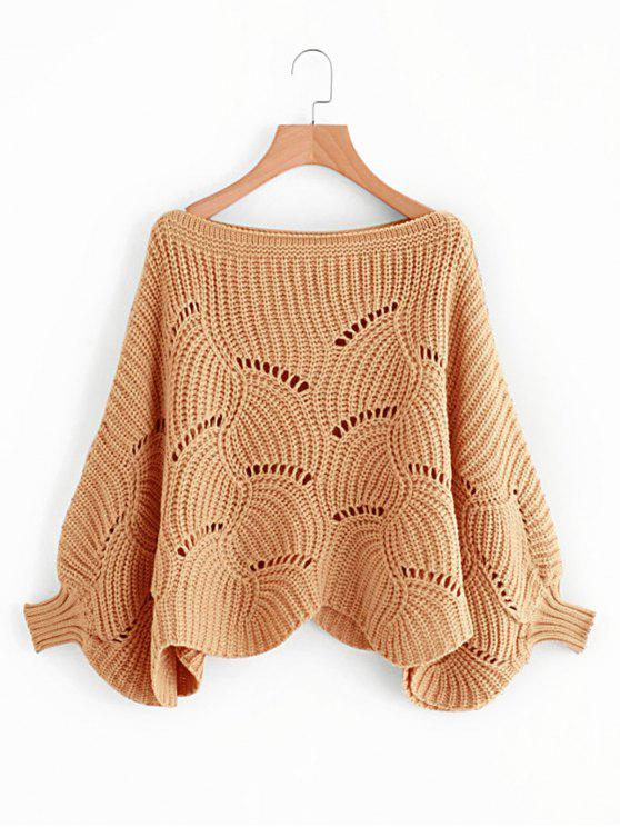 fashion Batwing Sleeve Hollow Out Pullover Sweater - NUDE PINK ONE SIZE