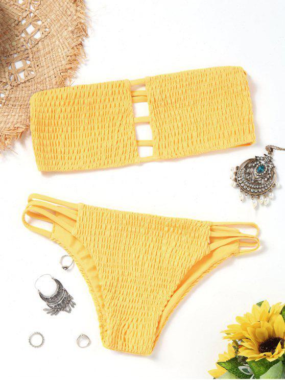 lady Bandeau Smocked Bikini Bra with Bottoms - YELLOW S