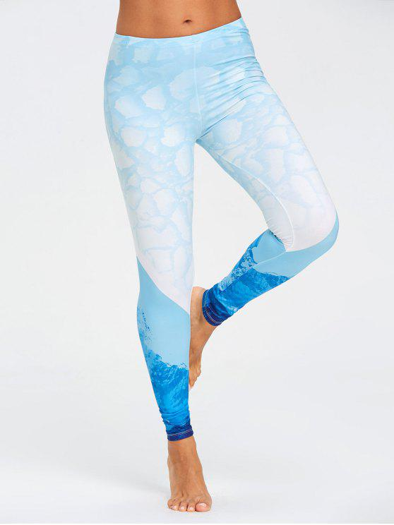 hot Stretch Sea Ombre Leggings - BLUE XL