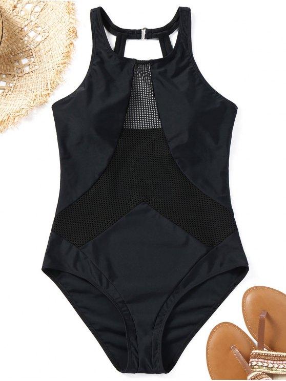 26 off 2019 costume da bagno intero imbottito in rete di nero zaful it - Costumi da bagno imbottiti ...