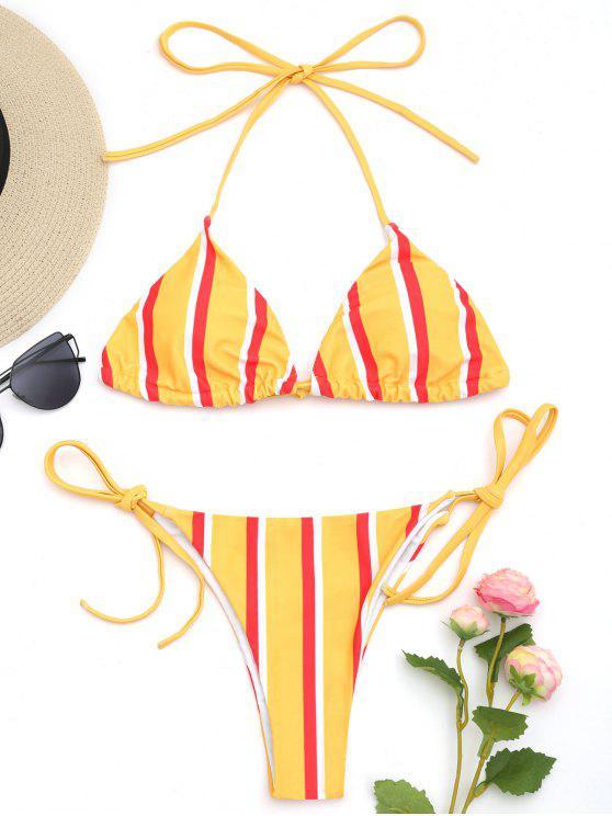 Halfter Gestreifte String Bikini Set - Gelb L