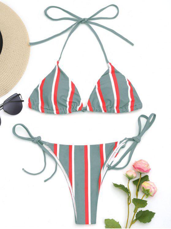 Halfter Gestreifte String Bikini Set - Grün S