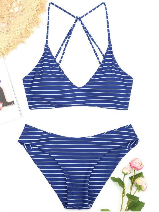online Caged Striped Bikini Set - DEEP BLUE M