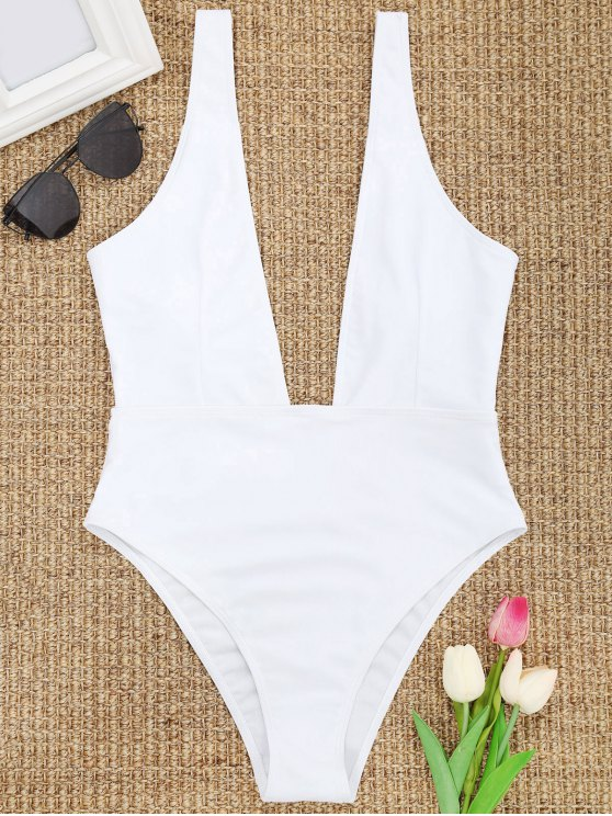 affordable High Cut Plunge Neck Swimsuit - WHITE M