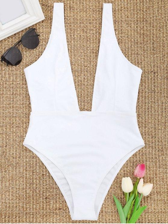 d39f99e721 14% OFF] [HOT] 2019 High Cut Plunge Neck Swimsuit In WHITE | ZAFUL
