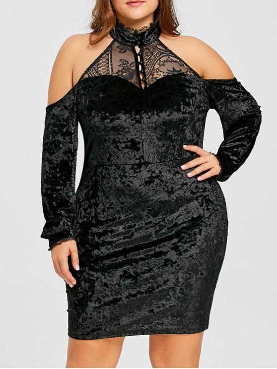 e03a7f85d8e 2019 Plus Size Velvet Open Shoulder Bodycon Dress In BLACK XL