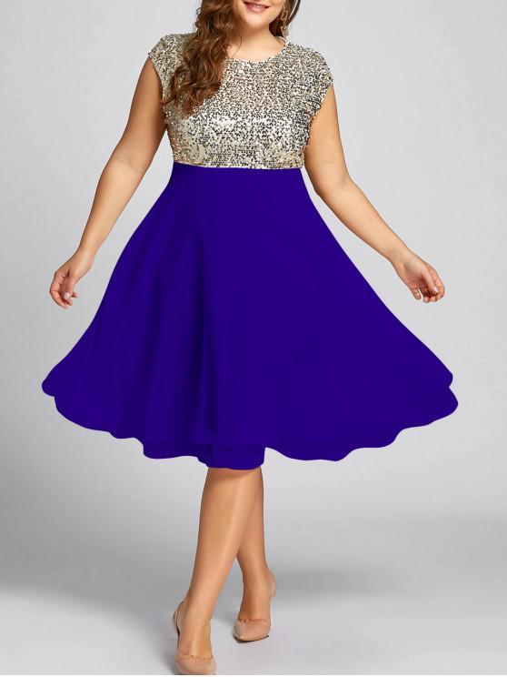 ترتدي زائد حجم الترتر فستان كوكتيل سباركلي - ملكي 5XL