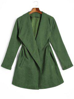Curled Sleeve Belted Skirted Coat - Green