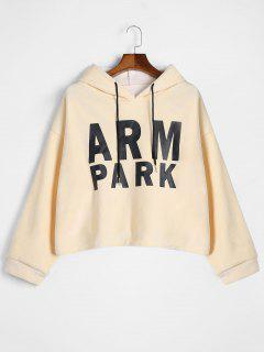 Drawstring Letter Fleece Hoodie - Apricot
