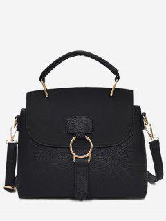 Ring Faux Leather Handbag With Strap - Black