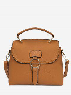 Ring Faux Leather Handbag With Strap - Brown