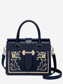 Embroidery Floral Metal Handbag - Deep Blue