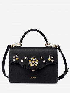 Flower Rhinestone Handbag - Black