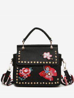 Flower Embroidery Studs Handbag - Black
