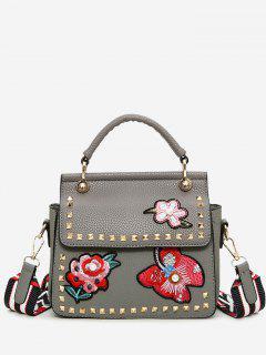 Flower Embroidery Studs Handbag - Gray