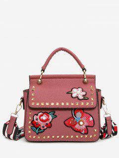 Flower Embroidery Studs Handbag - Pink