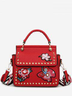 Flower Embroidery Studs Handbag - Red
