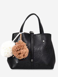 Pompom 2 Pieces PU Leather Handbag Set - Black