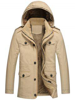 Hooded Fur Lining Jacket - Khaki L