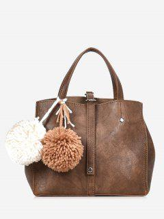Pompom 2 Pieces PU Leather Handbag Set - Brown