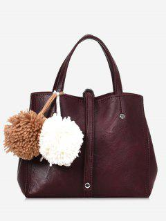Pompom 2 Pieces PU Leather Handbag Set - Wine Red
