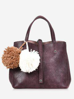 Pompom 2 Pieces PU Leather Handbag Set - Purple