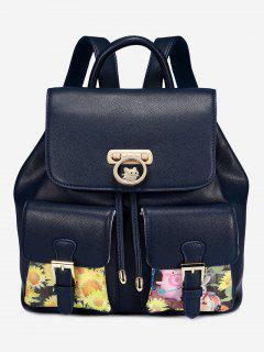 Piggy Flower Print Backpack - Deep Blue