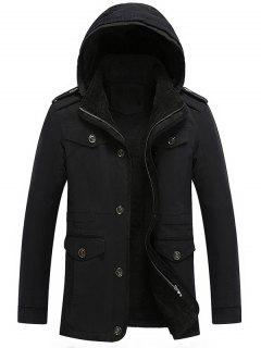Hooded Fur Lining Jacket - Black L