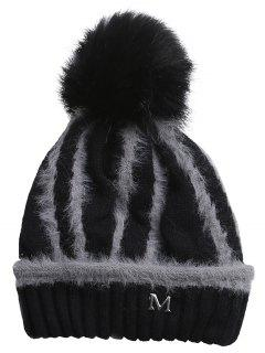 Outdoor Metal M Decoration Thicken Knitted Beanie - Black