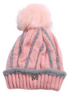 Outdoor Metal M Decoration Thicken Knitted Beanie - Light Pink