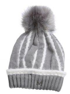 Outdoor Metal M Decoration Thicken Knitted Beanie - Gray