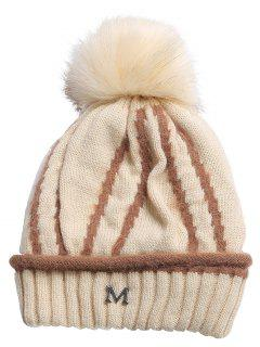 Outdoor Metal M Decoration Thicken Knitted Beanie - Beige