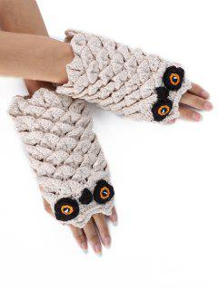 Cartoon Owl Decorated Knitted Exposed Finger Gloves - Beige