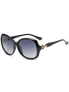 Gafas De Sol De Gran Tamaño De La Decoración Floral Del Metal - Negro Brillante