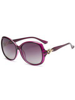 Metal Floral Decoration Oversized Sun Shades Sunglasses - Purple