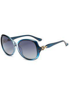 Metal Floral Decoration Oversized Sun Shades Sunglasses - Blue