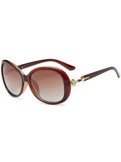 Rhinestone Inlay Embellished Oversized Sun Shades Sunglasses - Tea-colored