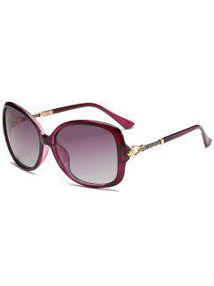 Hollow Out Metal Decoration Sun Shades Sunglasses - Purple