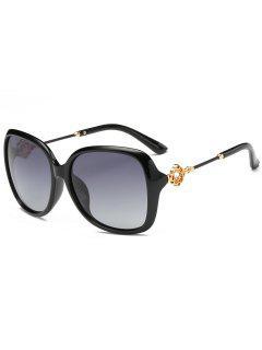 Floral Shape Rhinestone Inlay Embellished Oversized Sunglasses - Photo Black