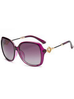Gafas De Sol De Gran Tamaño Embellecidas Con Incrustaciones De Diamantes De Imitación De Forma Floral - Púrpura