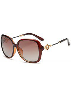 Floral Shape Rhinestone Inlay Embellished Oversized Sunglasses - Tea-colored