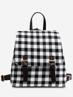 Plaid Buckle Strap Color Block Backpack - Black
