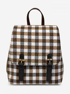 Plaid Buckle Strap Color Block Backpack - Khaki